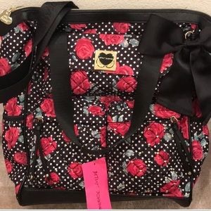 NWT Betsey Johnson black rose 🌹 backpack and tote